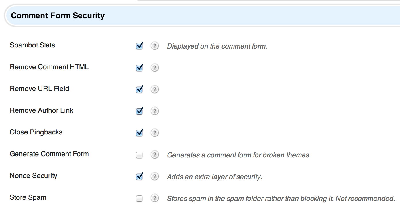 Comment Form Security