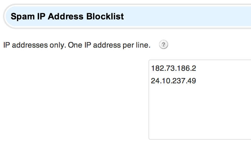 Spam IP Address Blocklist