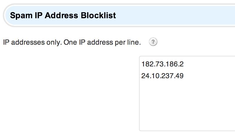 Spam IP Address Blocklist